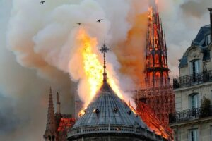 Notre Dame Cathedral Fire; Firefighters Have Saved Cathedral's Towers.